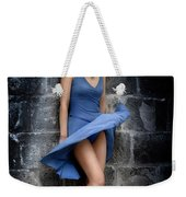 Beautiful Romantic Woman Standing Near A Stone Wall Weekender Tote Bag