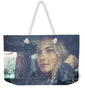 Beautiful Sad Woman In The Car Weekender Tote Bag