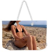 Beautiful Sexy Woman In Bikini Relaxing On A Rocky Seashore Weekender Tote Bag