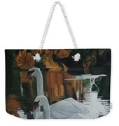 Beautiful Swans Moving In The River Path Weekender Tote Bag