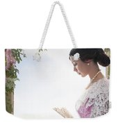 Beautiful Victorian Woman In Pink Dress Standing Under A Wisteri Weekender Tote Bag