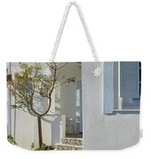 Beautiful White Mediterranean Architecture With Blue Frames. Weekender Tote Bag