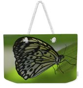 Beautiful White Tree Nymph Butterfly On  A Leaf Weekender Tote Bag