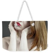 Beautiful White Woman On Red Chair Weekender Tote Bag
