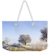 Beautiful Winter Background With Snow Tipped Trees Weekender Tote Bag