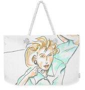 Beautiful Woman, Reclining -- Portrait Of Woman On Floor Weekender Tote Bag