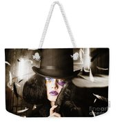 Beautiful Woman With Dark Hairstyle And Makeup Weekender Tote Bag