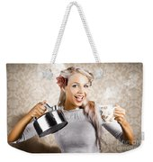 Beautiful Young Retro Woman With Cup Of Coffee Weekender Tote Bag