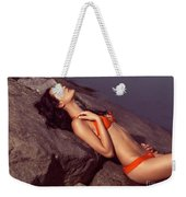 Beautiful Young Woman In Orange Bikini Weekender Tote Bag