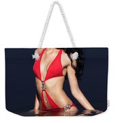 Beautiful Young Woman In Red Swimsuit Standing In Water Weekender Tote Bag