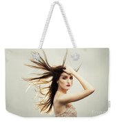 Beautiful Young Woman With Windswept Hair Weekender Tote Bag