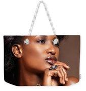 Beauty Portrait Of Black Woman Wearing Jewelry Weekender Tote Bag