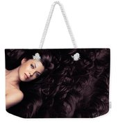 Beauty Portrait Of Woman Surrounded By Long Brown Hair  Weekender Tote Bag