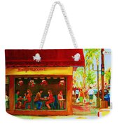 Beautys Cafe With Red Awning Weekender Tote Bag