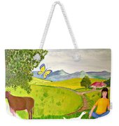 Becky And The Butterfly Weekender Tote Bag