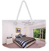 Bedroom With Silver And Blue Linen Weekender Tote Bag