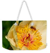 Bee And A Pale Yellow Early Glow Peony Weekender Tote Bag