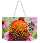 Bee And Pink Flower Weekender Tote Bag