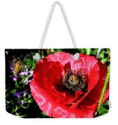 Bee And Red Poppy Weekender Tote Bag