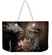 Bee Approaching Red Clover Blossom Weekender Tote Bag