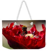 Bee Front With Red Flower Weekender Tote Bag