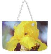 Bee In An Iris Bloom Weekender Tote Bag by Ann E Robson