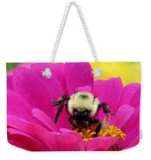 Bee On A Hot Pink Zinnia Weekender Tote Bag