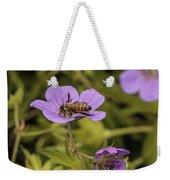 Bee On A Purple Flower Weekender Tote Bag