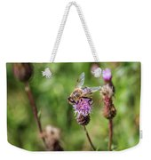 Bee On A Thistle Flower Weekender Tote Bag