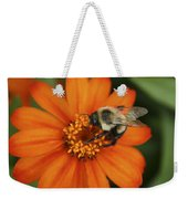 Bee On Aster Weekender Tote Bag