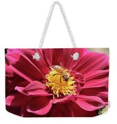 Bee On Beautiful Dahlia Weekender Tote Bag
