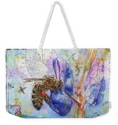 Bee On Blue Lupin Blossom. Weekender Tote Bag