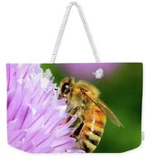 Bee On Chive Flower Weekender Tote Bag by Ann E Robson