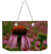 Bee On Echinacea Weekender Tote Bag