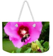 Bee On Edge Of A Hibiscus Flower Weekender Tote Bag