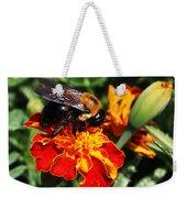 Bee On Marigold Weekender Tote Bag by William Selander