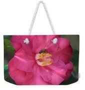 Bee On Pink Camellia Weekender Tote Bag