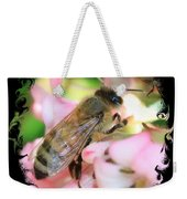 Bee On Pink Flower With Swirly Framing Weekender Tote Bag