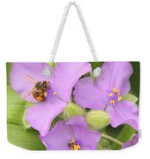 Bee On Purple Spiderwort Weekender Tote Bag