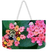 Bee On Rainy Flowers Weekender Tote Bag
