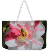 Bee On White And Pink Camellia Weekender Tote Bag