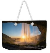 Behind Seljalandsfoss Sunset  Weekender Tote Bag