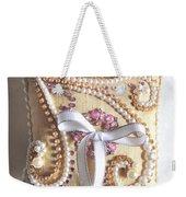 Beige-white Wedding Ring Pillow Weekender Tote Bag