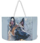Belgian Malinois In Winter Weekender Tote Bag