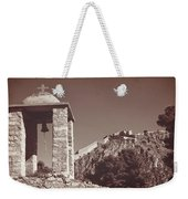 Belltower And Fortress Of Palamidi, Nafplio, Greece. Sepia. Weekender Tote Bag