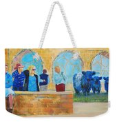 Belted Galloway Cows And People At Exeter Cathedral Weekender Tote Bag