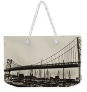 Ben Franklin Bridge From The Marina In Black And White. Weekender Tote Bag