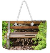Bench And Wood Pile Weekender Tote Bag