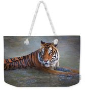 Bengal Tiger Laying Water Weekender Tote Bag