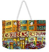 Ben's Famous Smoked Meat Montreal Memories Canadian Paintings Hockey Scenes And Landmarks  C Spandau Weekender Tote Bag